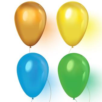 Une illustration d'un ensemble de ballons colorés d'anniversaire ou de fête