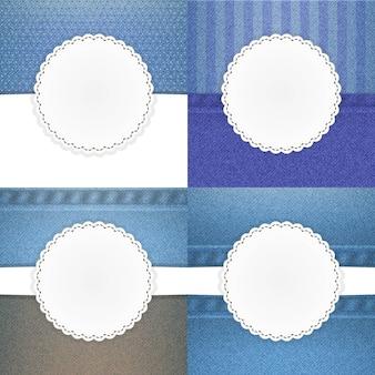 Illustration de l'ensemble de cartes de modèle vectoriel jeans