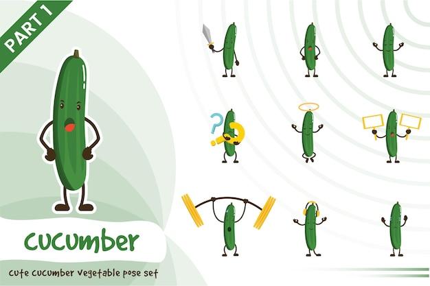 Illustration de l'ensemble de concombre mignon