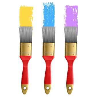 Illustration de l'ensemble de coup de pinceau coloré, enregistré dans la palette de pinceaux