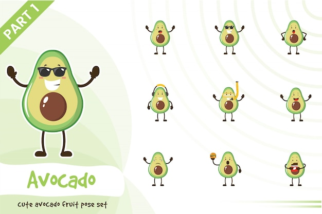 Illustration d'un ensemble de fruits avocat mignon