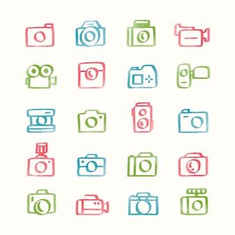 Illustration ensemble d'icônes de caméra