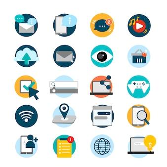 Illustration ensemble d'icônes de réseaux sociaux