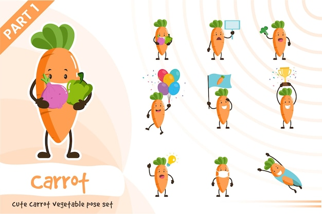 Illustration de l & # 39; ensemble de légumes carottes