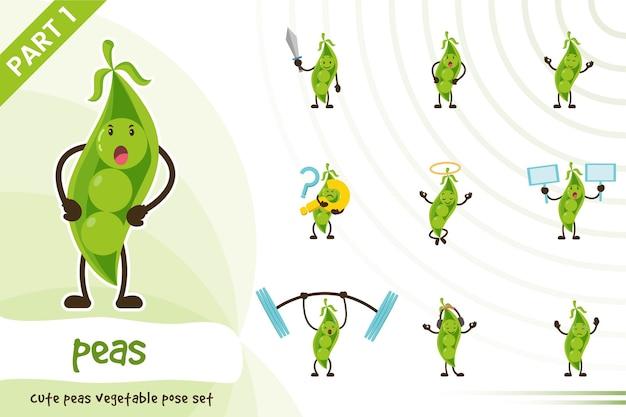 Illustration de l & # 39; ensemble de légumes pois mignons