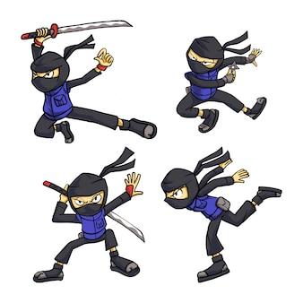 Illustration, ensemble, de, ninja, pose
