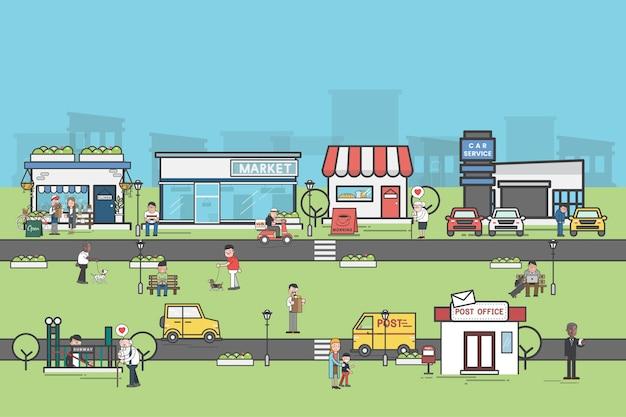 Illustration d'un ensemble de petites entreprises