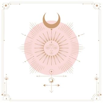 Illustration ensemble des phases de lune. différentes étapes de l'activité au clair de lune dans le style de gravure vintage. signes du zodiaque