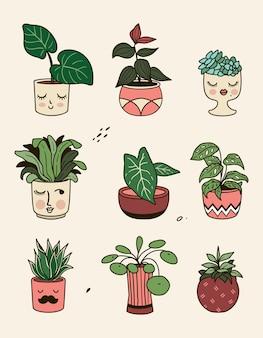 Illustration ensemble de plantes d'intérieur dessinées à la main