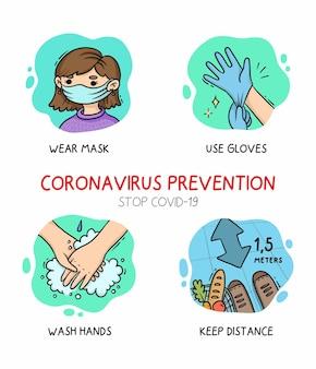 Illustration ensemble de prévention des coronavirus