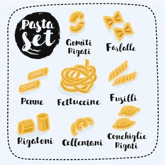 Illustration de l'ensemble des types de pâtes et leurs noms