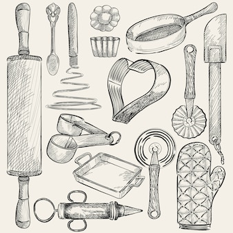 Illustration d'un ensemble d'ustensiles de cuisine