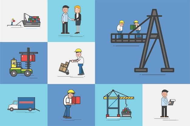 Illustration d'un ensemble de vecteurs de service logistique