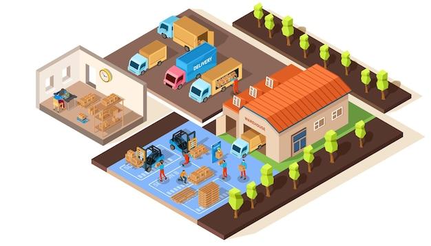Illustration d'entrepôt isométrique