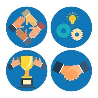 Illustration d'entreprise de concepts de partenariat: assistance, coopération, collaboration et succès
