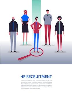 Illustration d'entreprise, personnages stylisés. recrutement, chasse de tête, recherche d'emploi. en choisir un parmi les autres. femme