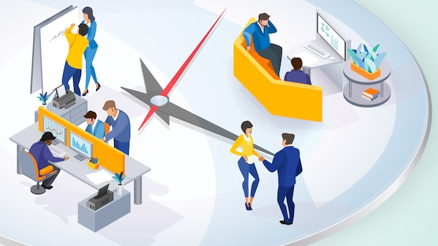 Illustration D'une Entreprise De Personnes Actives Vecteur Premium