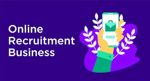 Illustration d'entreprise de recrutement en ligne