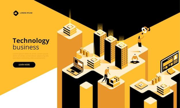 Illustration D'entreprise De Technologie Vecteur Premium
