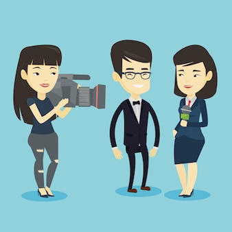Illustration d'entrevue télévisée.