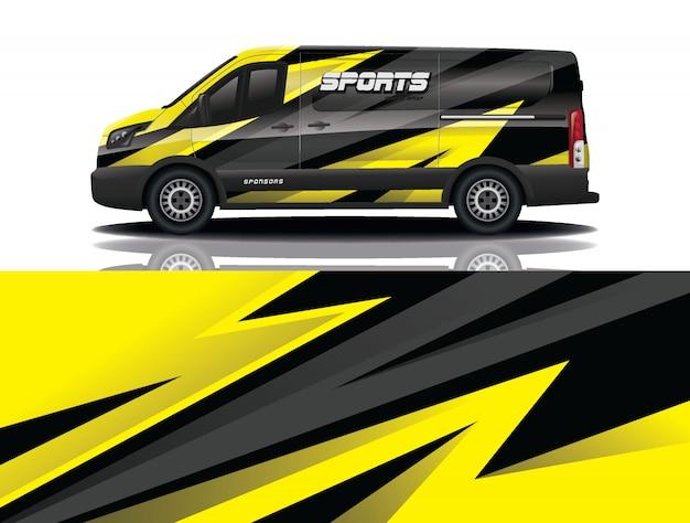 Illustration d'enveloppe de décalque de voiture van