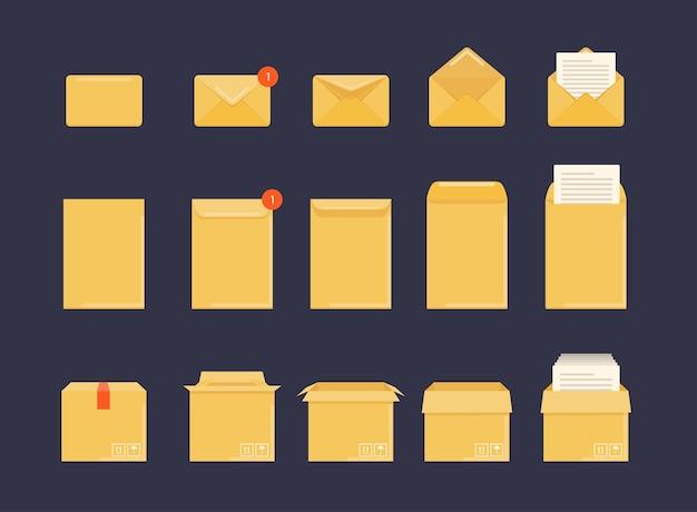 Illustration d'enveloppe ouverte et fermée