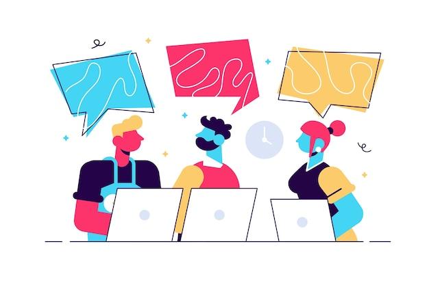 Illustration de l'équipe de co-working travaillant avec des ordinateurs portables