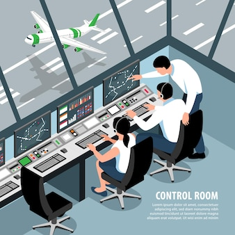 Illustration de l'équipe de contrôle du trafic aéroportuaire isométrique avec les opérateurs de salle de contrôle des avions de paysage intérieur et texte modifiable