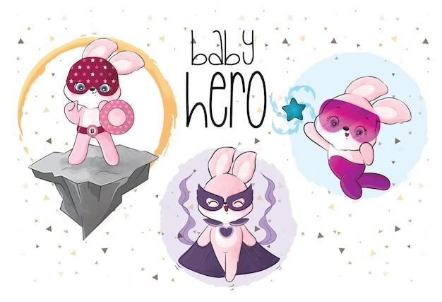 Illustration de l'équipe de héros mignons petits lapins