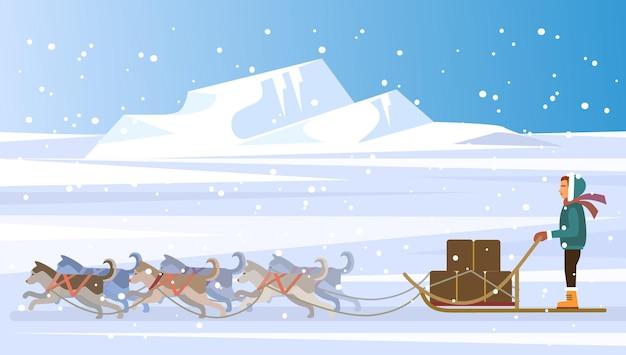 Illustration de l'équipe de traîneau à chiens et musher
