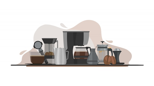 Illustration de l'équipement de café