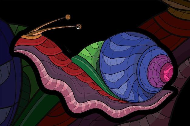 Illustration de l'escargot animal à colorier stylisé zentangle
