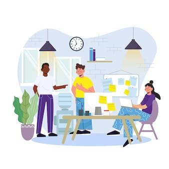 Illustration de l'espace de coworking de dessin animé