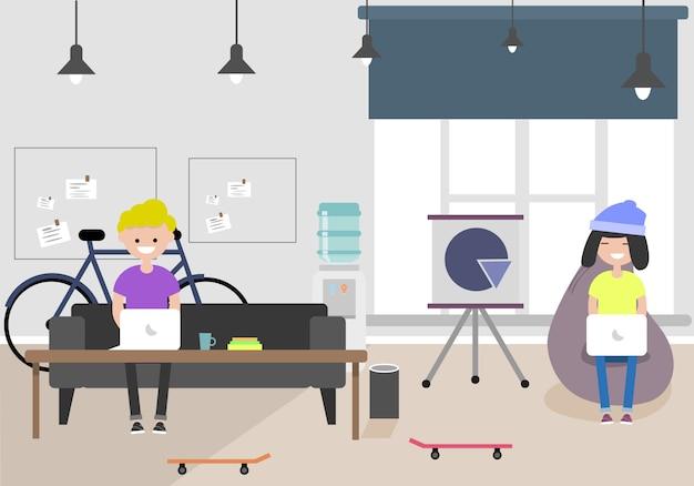 Illustration de l'espace de coworking. lieu de travail, bureau. bureau moderne. millennials au travail.