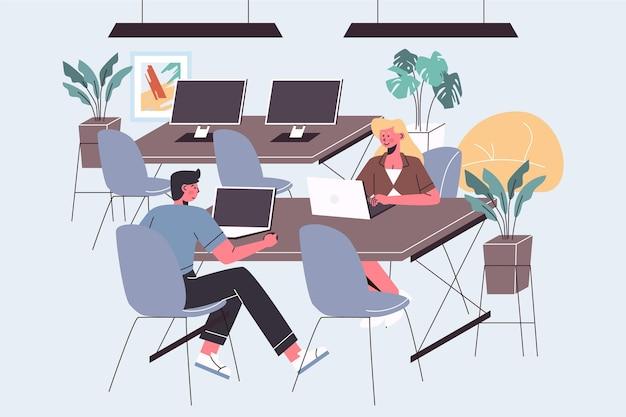 Illustration de l'espace de coworking avec des personnes