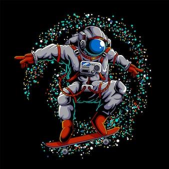 Illustration de l'espace extra-atmosphérique de skateboard astronaute