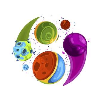 Illustration de l'espace, impression de tissu spatial. élément d'astronomie vecteur galaxie coloré