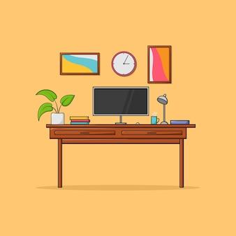 Illustration de l'espace de travail créatif moderne