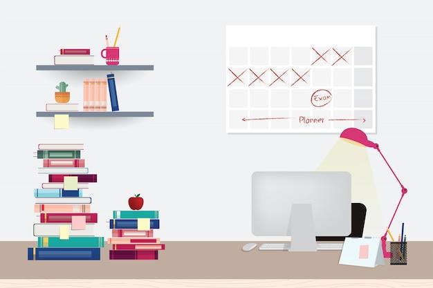 Illustration d'un espace de travail avec ordinateur, livres et papeterie sur la table
