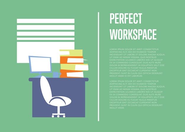 Illustration de l'espace de travail parfait avec un modèle de texte. intérieur de bureau