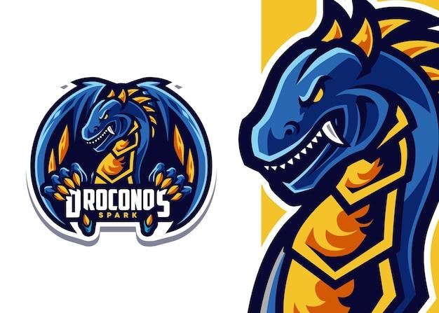 Illustration d'esport de logo de mascotte de dragon