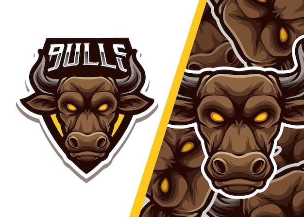Illustration d'esport de logo de mascotte de taureaux
