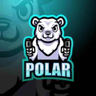Illustration d'esport de mascotte d'artilleur d'ours polaire
