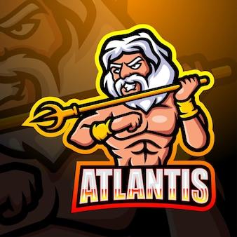 Illustration de l'esport mascotte atlantis