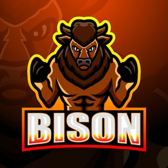 Illustration d'esport de mascotte de bison fort