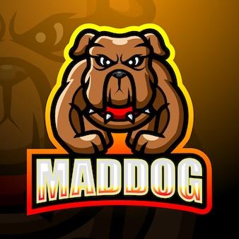 Illustration d'esport de mascotte de chien fou fort