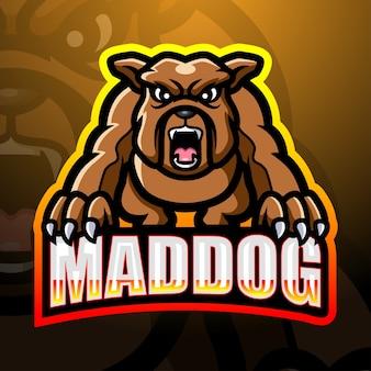 Illustration d'esport de mascotte de chien fou