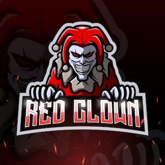 Illustration esport mascotte de clown rouge