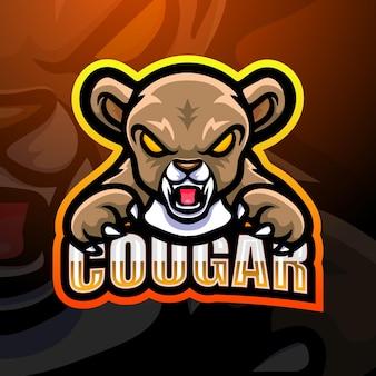 Illustration d'esport de mascotte de cougar