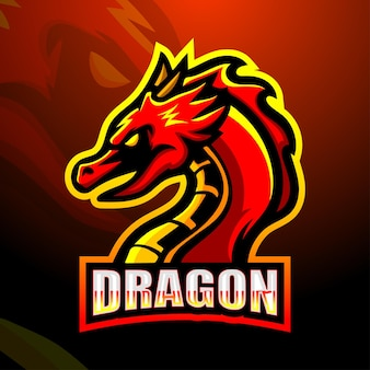 Illustration d'esport de mascotte de dragon